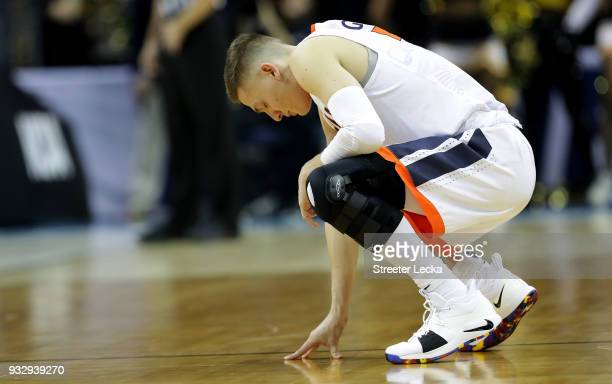 Kyle Guy of the Virginia Cavaliers takes a moment of repose before their game against the UMBC Retrievers during the first round of the 2018 NCAA...