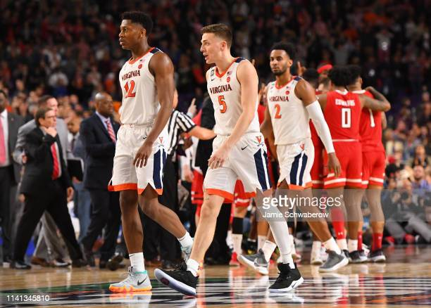 Kyle Guy of the Virginia Cavaliers walks off the court during the second half of the game against the Texas Tech Red Raiders in the 2019 NCAA men's...