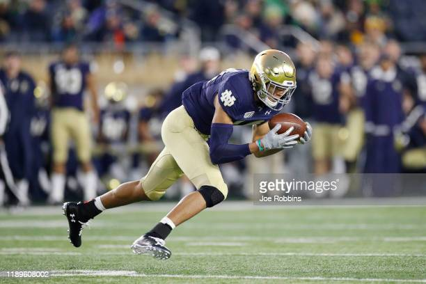 Kyle Hamilton of the Notre Dame Fighting Irish intercepts a pass against the Boston College Eagles in the second half at Notre Dame Stadium on...