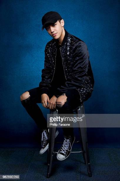 Kyle Hanagami poses for a portrait at the Getty Images Portrait Studio at the 9th Annual VidCon US at Anaheim Convention Center on June 22 2018 in...
