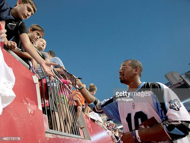 Kyle Harrison of Ohio Machine signs autographs after a game with Boston Cannons at Gillette Stadium on July 11 2015 in Foxboro Massachusetts