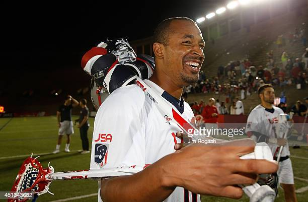 Kyle Harrison of Team USA laughs after defeating Team MLL in the 2014 MLL All Star Game at Harvard Stadium on June 26 2014 in Boston Massachusetts
