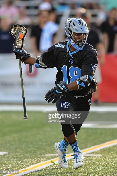 Kyle Harrison of the Ohio Machine controls the ball against the New York Lizards on July 18 2015 at Selby Stadium in Delaware Ohio