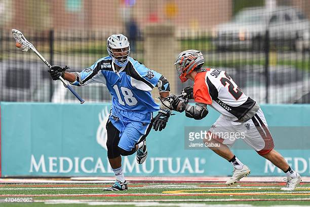 Kyle Harrison of the Ohio Machine controls the ball against the Denver Outlaws on April 19 2015 at Selby Stadium in Delaware Ohio