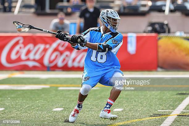 Kyle Harrison of the Ohio Machine controls the ball against the Rochester Rattlers on July 4 2015 at Selby Stadium in Delaware Ohio