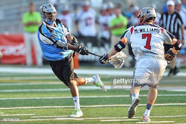 Kyle Harrison of the Ohio Machine controls the ball against the Boston Cannons on July 25 2015 at Selby Stadium in Delaware Ohio
