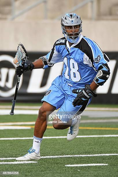 Kyle Harrison of the Ohio Machine controls the ball against the Rochester Rattlers on August 1 2015 at Selby Stadium in Delaware Ohio Rochester...