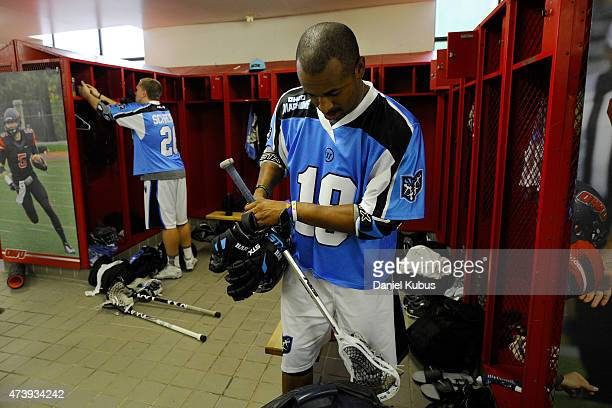 Kyle Harrison of the Ohio Machine prepares in the locker room prior to a game against the Charlotte Hounds at Selby Stadium on May 16 2015 in...