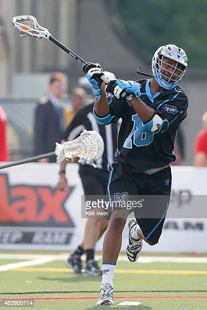 Kyle Harrison of the Ohio Machine shoots the ball during the game against the Denver Outlaws on July 26 2014 at Selby Stadium in Delaware Ohio