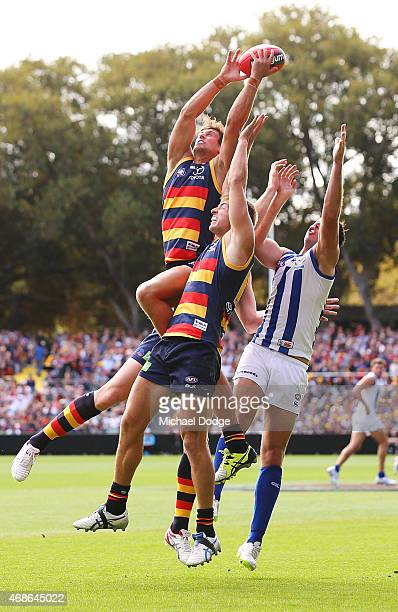 Kyle Hartigan of the Crows competes for the ball during the round one AFL match between the Adelaide Crows and the North Melbourne Kangaroos at...