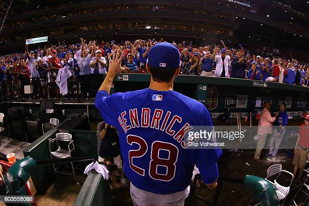 Kyle Hendricks of the Chicago Cubs acknowledges the crowd after throwing a onehitter against the St Louis Cardinals at Busch Stadium on September 12...