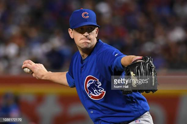 Kyle Hendricks of the Chicago Cubs delivers a first inning pitch against the Arizona Diamondbacks at Chase Field on September 17 2018 in Phoenix...