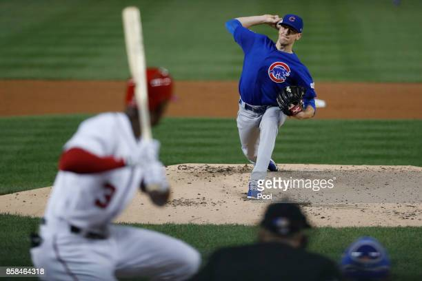kyle Hendricks of the Chicago Cubs delivers a pitch against the Washington Nationals in the third inning during Game One of the National League...