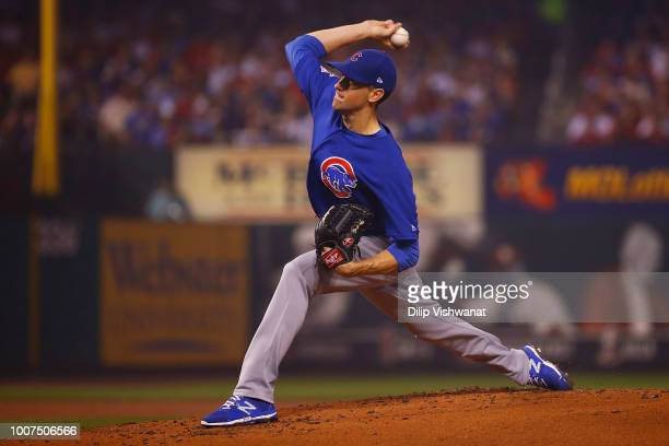 Kyle Hendricks of the Chicago Cubs delivers a pitch against the St Louis Cardinals in the first inning at Busch Stadium on July 29 2018 in St Louis...