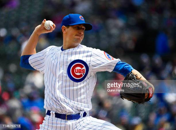 Kyle Hendricks of the Chicago Cubs delivers the ball in the first inning against the St Louis Cardinals at Wrigley Field on May 03 2019 in Chicago...
