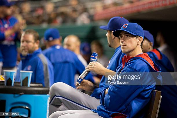 Kyle Hendricks of the Chicago Cubs looks on from the dugout during the game against the Chicago Cubs at Great American Ball Park on Friday April 24...
