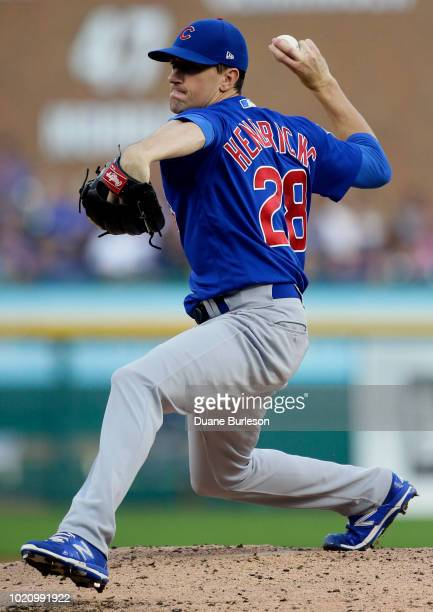 Kyle Hendricks of the Chicago Cubs pitches against the Detroit Tigers during the second inning at Comerica Park on August 21 2018 in Detroit Michigan