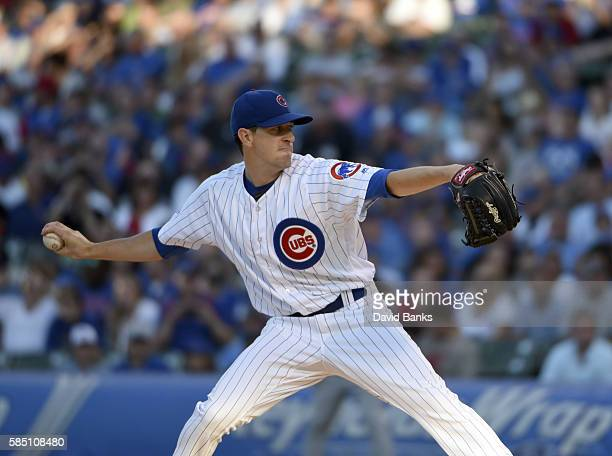 Kyle Hendricks of the Chicago Cubs pitches against the Miami Marlins during the first inning on August 1 2016 at Wrigley Field in Chicago Illinois