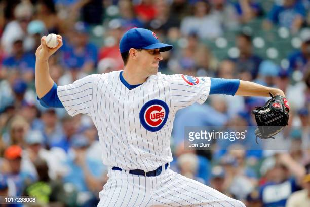 Kyle Hendricks of the Chicago Cubs pitches against the Milwaukee Brewers during the first inning at Wrigley Field on August 15 2018 in Chicago...