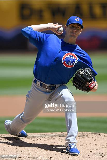 Kyle Hendricks of the Chicago Cubs pitches against the Oakland Athletics in the bottom of the first inning at Oco Coliseum on August 7 2016 in...