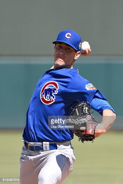 Kyle Hendricks of the Chicago Cubs pitches against the Oakland Athletics on March 13 2016 in Mesa Arizona