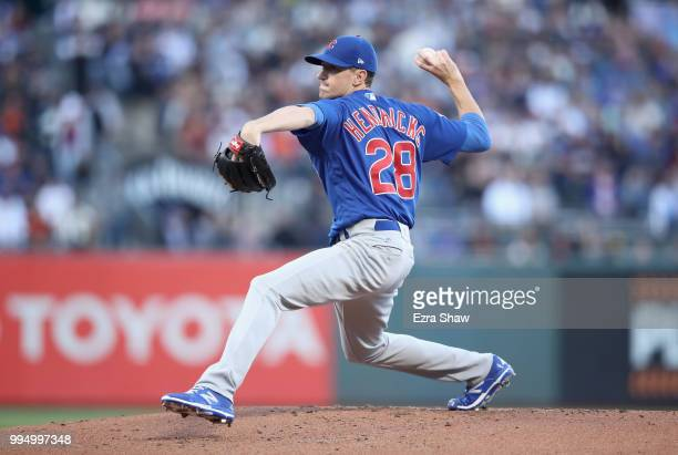 Kyle Hendricks of the Chicago Cubs pitches against the San Francisco Giants in the first inning at ATT Park on July 9 2018 in San Francisco California