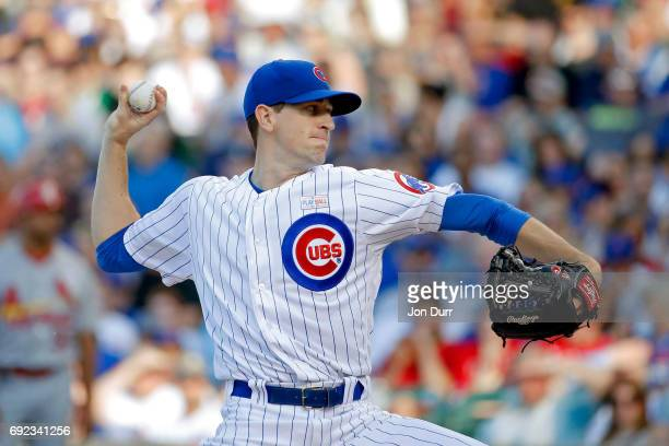 Kyle Hendricks of the Chicago Cubs pitches against the St Louis Cardinals during the second inning at Wrigley Field on June 4 2017 in Chicago Illinois