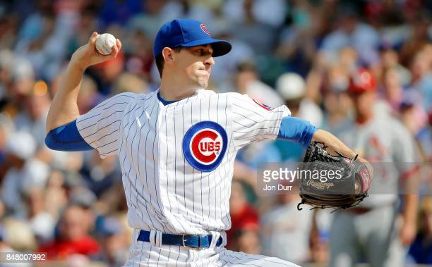 Kyle Hendricks of the Chicago Cubs pitches against the St Louis Cardinals during the first inning at Wrigley Field on September 16 2017 in Chicago...