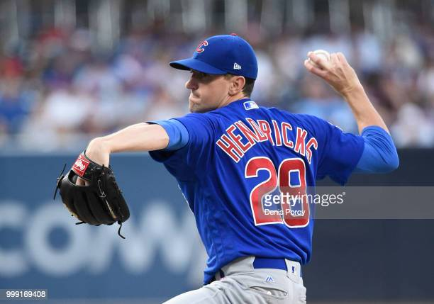 Kyle Hendricks of the Chicago Cubs pitches during the first inning of a baseball game against the San Diego Padres at PETCO Park on July 14 2018 in...