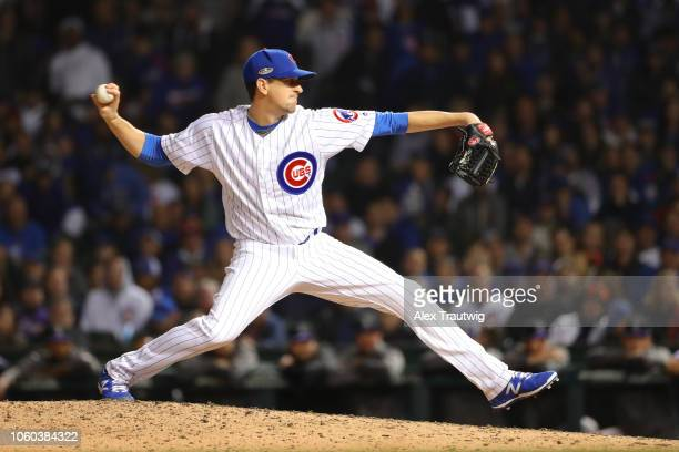 Kyle Hendricks of the Chicago Cubs pitches during the National League Wild Card game against the Colorado Rockies at Wrigley Field on Tuesday October...