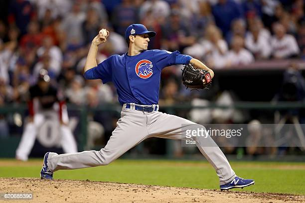 Kyle Hendricks of the Chicago Cubs pitches in the fifth inning against the Cleveland Indians in Game Seven of the 2016 World Series at Progressive...