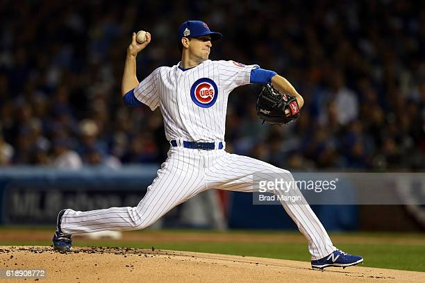 Kyle Hendricks of the Chicago Cubs pitches in the first inning during Game 3 of the 2016 World Series against the Cleveland Indians at Wrigley Field...