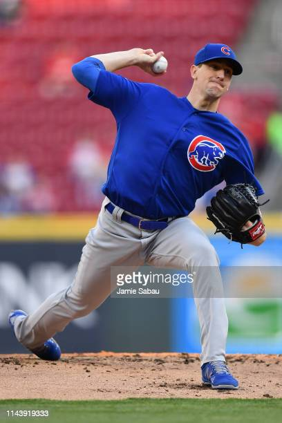 Kyle Hendricks of the Chicago Cubs pitches in the first inning against the Cincinnati Reds at Great American Ball Park on May 14 2019 in Cincinnati...
