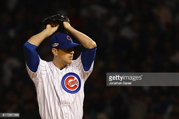 Kyle Hendricks of the Chicago Cubs pitches in the first inning against the Los Angeles Dodgers during game six of the National League Championship...