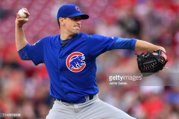 Kyle Hendricks of the Chicago Cubs pitches in the second inning against the Cincinnati Reds at Great American Ball Park on May 14 2019 in Cincinnati...