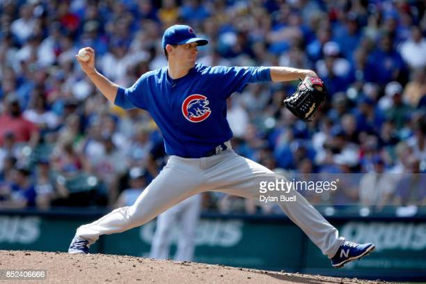 Kyle Hendricks of the Chicago Cubs pitches in the second inning against the Milwaukee Brewers at Miller Park on September 23 2017 in Milwaukee...
