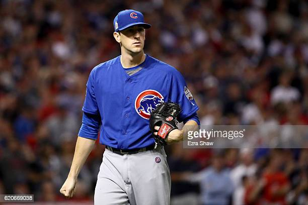 Kyle Hendricks of the Chicago Cubs reacts after the second inning against the Cleveland Indians in Game Seven of the 2016 World Series at Progressive...