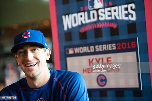 Kyle Hendricks of the Chicago Cubs speaks to reporters during World Series Media Day at Progressive Field on October 24 2016 in Cleveland Ohio