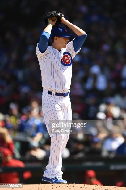 Kyle Hendricks of the Chicago Cubs throws a pitch during a game against the Los Angeles Angels at Wrigley Field on April 13 2019 in Chicago Illinois