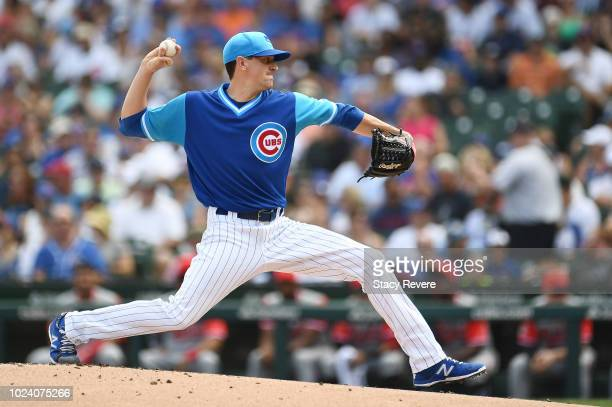 Kyle Hendricks of the Chicago Cubs throws a pitch during the first inning against the Cincinnati Reds at Wrigley Field on August 26 2018 in Chicago...