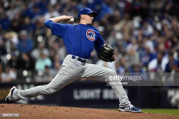 Kyle Hendricks of the Chicago Cubs throws a pitch during the first inning of a game against the Milwaukee Brewers at Miller Park on April 8 2017 in...