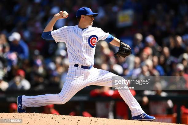 Kyle Hendricks of the Chicago Cubs throws a pitch during the third inning of a game against the Los Angeles Angels at Wrigley Field on April 13 2019...