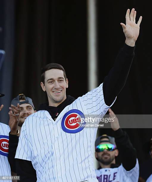 Kyle Hendricks of the Chicago Cubs waves to the crowd during the Chicago Cubs victory celebration in Grant Park on November 4 2016 in Chicago...