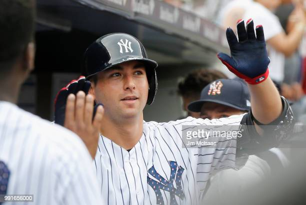 Kyle Higashioka of the New York Yankees celebrates his fourth inning home run against the Atlanta Braves at Yankee Stadium on July 4 2018 in the...