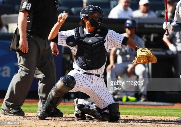 Kyle Higashioka of the New York Yankees during the New York Yankees home Opening game at Yankee Stadium on April 10 2017 in New York City