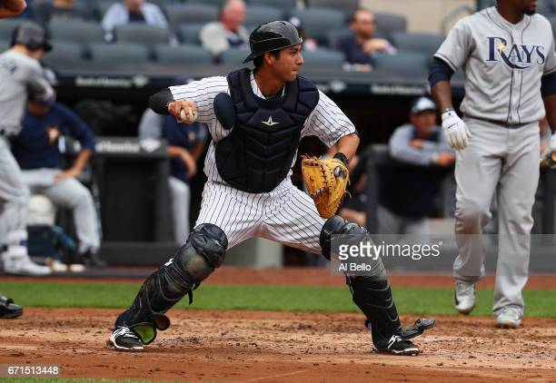 Kyle Higashioka of the New York Yankees in action against the Tampa Bay Rays during their game at Yankee Stadium on April 12 2017 in New York City