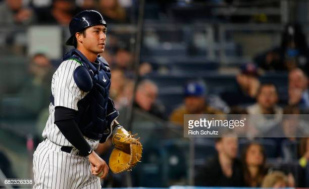 Kyle Higashioka of the New York Yankees in action against the Toronto Blue Jays during a game at Yankee Stadium on May 3 2017 in New York City The...