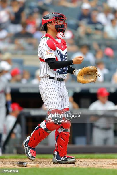 Kyle Higashioka of the New York Yankees looks on during a game against the Atlanta Braves at Yankee Stadium on Wednesday July 4 2018 in the Bronx...