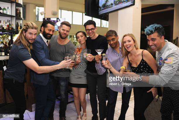 Kyle Hill Cas Anvar Wes Chatham Cara Gee Steven Strait Naren Shankar Hallie Lambert and Bobak Ferdowsi toast at the Science Of The Expanse Panel held...