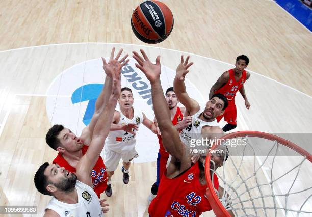 Kyle Hines #42 and Alec Peters #5 of CSKA Moscow competes with Gustavo Ayon #14 and Felipe Reyes #9 of Real Madrid in action during the 2018/2019...